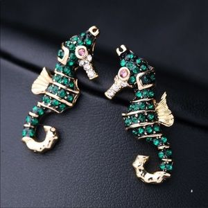 Brand New Gold & Green Crystal Seahorse Earrings